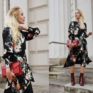 Zara Midi Bird Dress with Tied Waist